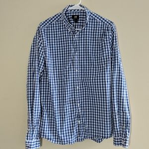 H&M blue and white checkered dress shirt